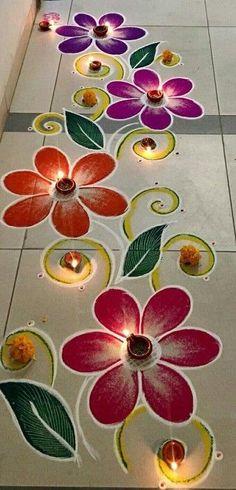 Simple Rangoli Border Designs, Easy Rangoli Designs Diwali, Rangoli Simple, Rangoli Designs Latest, Rangoli Designs Flower, Free Hand Rangoli Design, Small Rangoli Design, Rangoli Ideas, Rangoli Designs With Dots