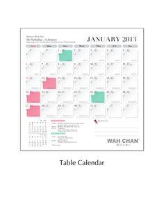 Table Calendar 2013