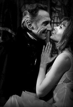 Peter Cushing and Ingrid Pitt behind the scenes of The Vampire Lovers (1971) - via Where Beauty & Terror Dance