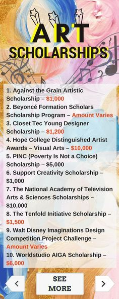 Use your creativity to win #scholarship money! Here is a selection of Art Scholarships that are listed on TUN.