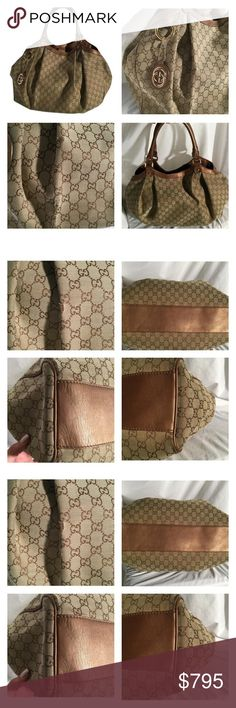 Gucci Metallic Bronze & Tan monogrammed LG Sukey Gucci LG Sukey, Beautiful Tan/Metallic Bronze monogrammed canvas with metallic Bronze leather trim. This purse is so incredibly beautiful but it does have a few wear spots on the canvas. Please see pictures, pricing will reflect this. It is still a Stunning purse and the wear spots are not noticable when in use. 16 inches wide X 5 inches deep X 14 inches high. Gucci Bags