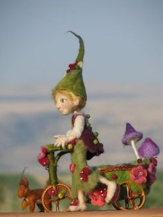 Needle felted doll Woodland elf with bike and red by Made4uByMagic, $390.00: