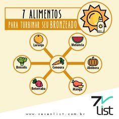 Você sabia que uma alimentação balanceada e cheia de bons alimentos pode te ajudar a desfilar um bronzeado bonito e saudável por aí? Confira a lista que o Seven List separou com 7 alimentos para turbinar o seu bronzeado (mas não se esqueça de passar protetor solar hein?!) #Sevenlist #Verão #Summer #Sunblock #Bronzeado #Calor #Sol #Protetorsolar #Alimentação #Saúde #Corpo #Frutas #Verduras #Bronzeadosaudável #Pelebonita #Curtaoverão