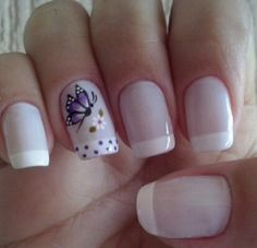 Butterfly Nails in Royal Bule Theme. Pink Nails, My Nails, Jolie Nail Art, Butterfly Nail Art, French Tip Nails, Cute Nail Art, Flower Nails, Nail Manicure, Nails Inspiration