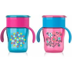 Philips Avent My Natural Drinking Toddler Cup, 9 Ounces, 2-Pack, 12 Months +, Stage 4, BPA-Free, Pink