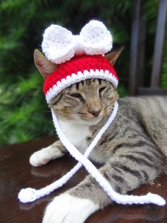 Christmas Cat Hat Costume Christmas Hat for by iheartneedlework
