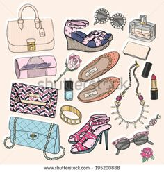 Fashion accessories set. Background with bags, sunglasses, shoes, jewelery, makeup and flowers. - stock vector id 195200888