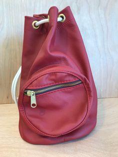 Red genuine leather drawstring duffle bucket bag fbe566475c345