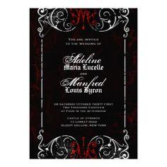 Gothic Victorian Spooky Red, Black & White Wedding Custom Invite #wedding #invitations