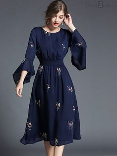 Buy Fashion O-Neck Flare Sleeve Embroidery Skater Dress with High Quality and Lovely Service at DressSure.com