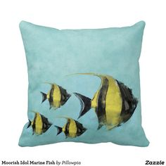 Moorish Idol Marine Fish Throw Pillows
