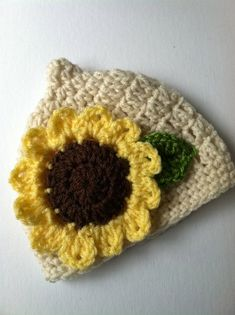 Crochet Baby Hat with Sunflower Crochet by LakeviewCottageKids, $18.00