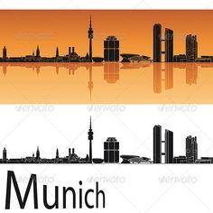 Munich Skyline in Orange Background