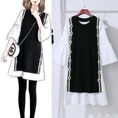 Black and White nailed this look and design. Kpop Fashion Outfits, Girls Fashion Clothes, Korean Outfits, Girl Fashion, Fashion Drawing Dresses, Fashion Illustration Dresses, Fashion Dresses, Moda Outfits, Trendy Outfits