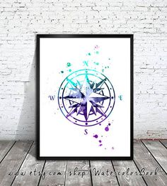Compass 2 Watercolor Print Nautical art Compass door WatercolorBook