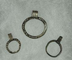 Roman silver jewelry, roman silver pendants with loop, 1st-3rd century A.D. Roman silver pendant with loop, 3 cm max. Private collection