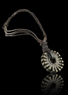 Africa | Brass pendant from the Dogon people of Mali combined with leather | 549CHF ~ Sold (6/13)