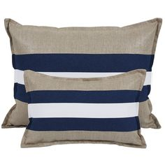 Striped blue and beige pillow range Indigo Brown Furniture, Bed Furniture, Beach House Bedroom, Beige Pillows, Futons, Indigo, Linens And Lace, Nature Decor, Trendy Bedroom