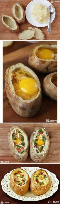 """1 baked potato 1 Tbsp butter 2 eggs 2 strips bacon, cooked. 2 Tbsp. shredded cheddar 1 Tbsp. fresh parsley, chopped. salt and freshly ground black pepper. Place 1/2 tablespoon of butter in the middle of each """"bowl"""". Then gently break an egg into each """"bowl"""", careful not to break the yolk. Top with bacon, cheese, parsley, and then season with salt and pepper. Bake at 350 degrees F for 25 min.."""