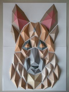 German sheperd origami mosaic by Kota Hiratsuka. Origami Design, Origami And Kirigami, Origami Fish, Paper Crafts Origami, Diy Paper, Origami Decoration, Origami Dragon, Paper Wall Art, Origami Animals