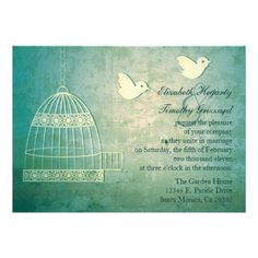 Gorgeous Teal Birdcage Wedding Invitation