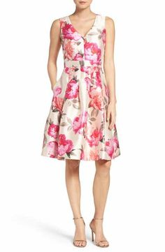 Main Image - Eliza J Floral Mikado Fit & Flare Dress (Regular & Petite) Dress For Petite Women, Petite Dresses, Floral Dresses, Fit Flare Dress, Fit And Flare, Groom Dress, Lovely Dresses, Nordstrom Dresses, Formal