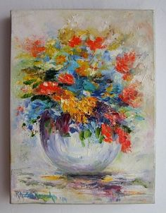 Flowers Original Oil Painting Still life ColorfuI impression Impasto EU Artist #Impressionism