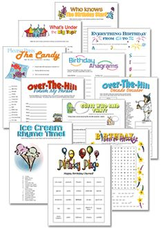 Printable Kids Games, Birthday Party Games!