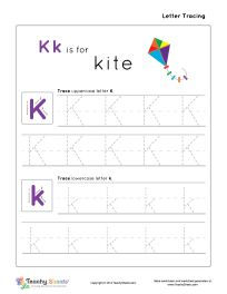 Preschool worksheet for tracing letter K k is for kite. Tracing and writing practice. For more free worksheets or worksheet generators visit us at http://TeachySheets.com