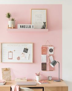Where to buy a message board for your decoration? Study Room Decor, Cute Room Decor, Bedroom Decor, Girl Bedroom Designs, Girls Bedroom, Bedrooms, Home Office Design, Home Office Decor, Pastel Room