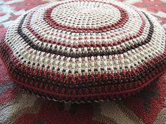 A big pouf floor cushion I crocheted to make sitting on the floor more comfy.