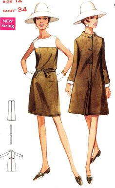 1960s Dress Pattern Butterick 4741 Mod Sleeveless A by paneenjerez, $12.00