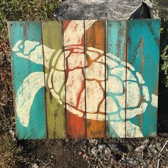 Hand painted sea turtle on painted and distressed pallet wood. Approx 28 x Ready to hang with cable across the back. Thanks - Oliver bathroom Pallet Painting, Painting On Wood, Wood Paintings, Pallet Crafts, Wood Crafts, Arte Bar, Sea Turtle Art, Sea Turtles, Wood Turtle