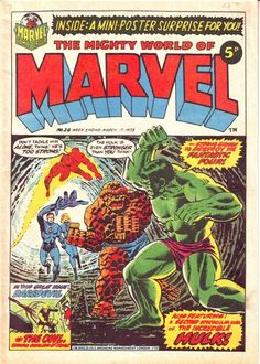 OLD! Early world of Marvel (DD in a color-blind costume). NEW! Cover by Jim Starlin (Thing and Hulk have a bromance in panties).