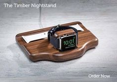 Pad&Quill Timber Nightstand Apple Watch Charging Stand