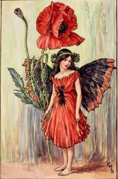 This beautiful Poppy Flower Fairy Vintage Print by Cicely Mary Barker was printed and is an original book plate from the Book of The Flower Fairies. Cicely Barker created 168 flower fairy illustrations in total for her many books Cicely Mary Barker, Vintage Fairies, Flower Fairies, Flower Art, Fantasy Illustration, Fairy Tale Illustrations, Illustration Girl, Fairy Art, Magical Creatures
