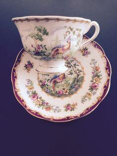 Royal Albert Bone China Tea Cup and Saucer, England, Chelsea Bird Pattern #RoyalAlbert