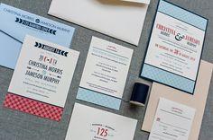 Red and Blue Custom Modern Geometric Wedding Pocket Invitation - Christina and Jameson