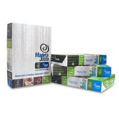 Papel A4 Madera Justa, 80gr, certificado FSC. Se comercializa en cajas de 5 paquetes de 500 hojas cada uno (2500 hojas). El 3% de la recuadación se destina a la gestión de plantaciones sostenibles.
