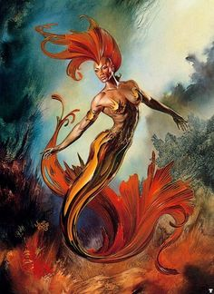 Scroll down to the board for links to more of these talented artists work Julie Bell & Boris Vallejo Boris Vallejo, Julie Bell, Fantasy Mermaids, Mermaids And Mermen, Mythological Creatures, Fantasy Creatures, Sea Creatures, Black Women Art, Black Art