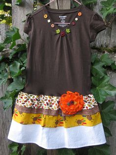 Autumn Thanks Ruffl'd T Dress Girls Size 5 or Extra Small. $29.99, via Etsy.