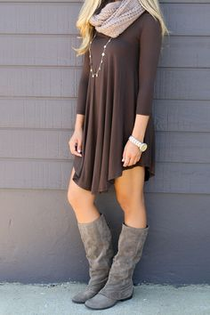 Amazing Lace ~ Products ~ Never Let Go Brown V-Neck Quarter Sleeve Dress ~ Shopify