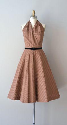 Xocolata halter dress / cotton 1950s dress / vintage by DearGolden