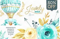 50%OFF! Lovely Flowers. Mint & Gold