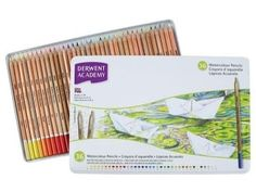 Derwent Academy Watercolor Pencils Metal Tin 36 Count 2300226 for sale online Types Of Pencils, Colored Pencils, Derwent Pencils, Writing Correction, Watercolor Pencils, Watercolour, Artist Pencils, Stationery Craft, Drawing Letters