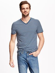 Striped V-Neck Tee for Men