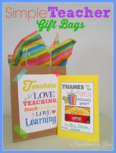 Simple Teacher Gift Bags with Free Printables- great gift for that special teacher at the end of the school year! #teachergift #teacherappreciation