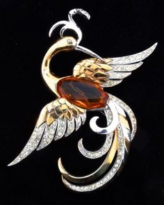 1940 Boucher Huge Faceted Glass Belly Rhinestone Phoenix Bird Figural Brooch Pin