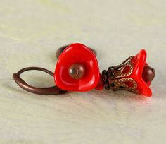 Red Czech trumpet bell flower antique copper leverback earrings (369) – Flat rate shipping