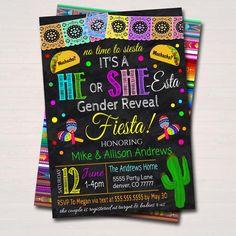 Fiesta Gender Reveal Party, Gender Reveal Pinata, Baby Shower Gender Reveal, Baby Gender, Mexican Theme Baby Shower, Baby Shower Themes, Sprinkle Party, Baby Sprinkle, Invitation Text